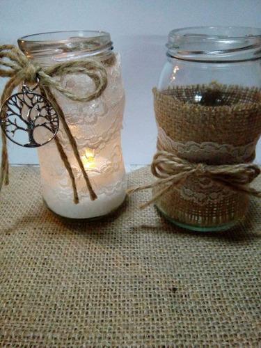 frascos decorados vintage con arbol de la vida