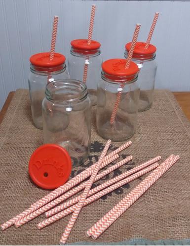 frascos mermelada p/tragos tapa silicona perforada y sorbete