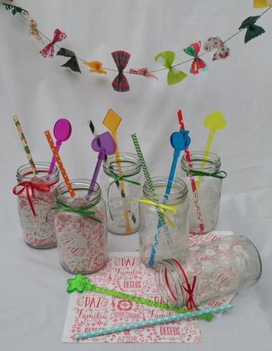 frascos navideños grabado blanco pack x6 + tarj nav regalo