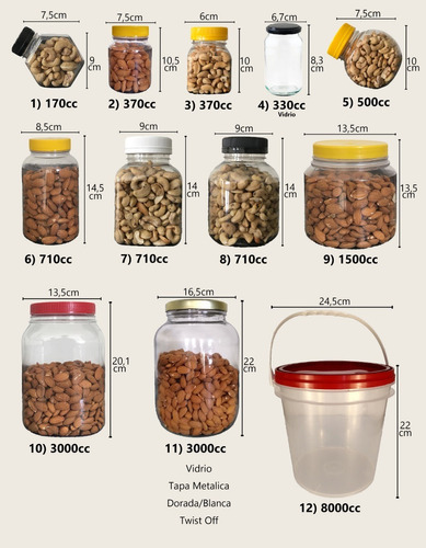 frascos plasticos contenedor multiuso 3000 cc c/ tapa x 12 u