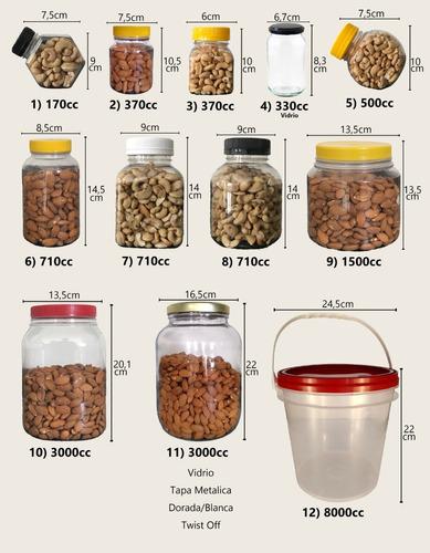 frascos plasticos taper organizador 3000 cc c/ tapa x 12 u