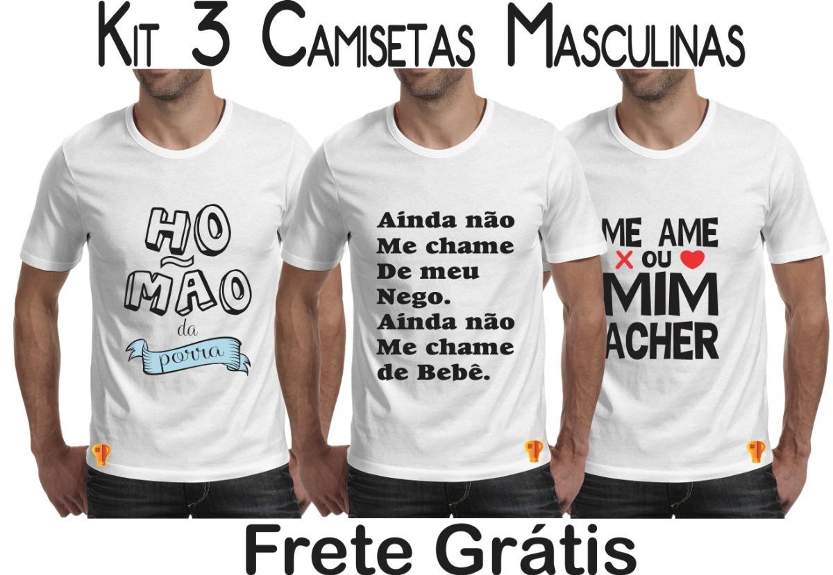 fa9068855 frases internet kit c  3 camiseta masculina frete grátis. Carregando zoom.