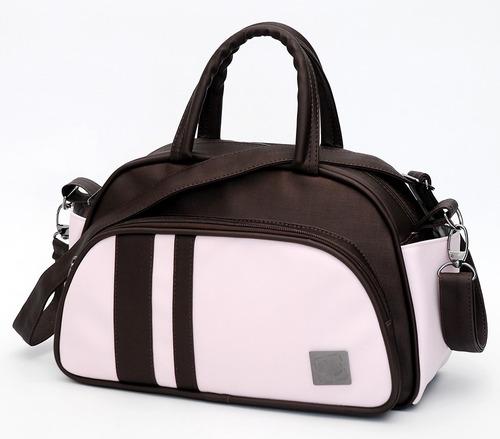 frasqueira maternidade classic térmica marrom e rosa