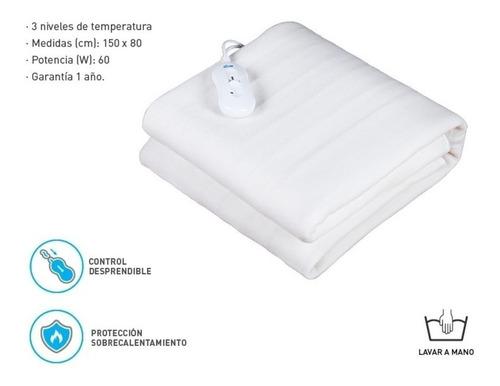 frazada electrica calienta cama termica de 1 plaza polyester - bajo consumo - regulador temperatura - segura - garantia