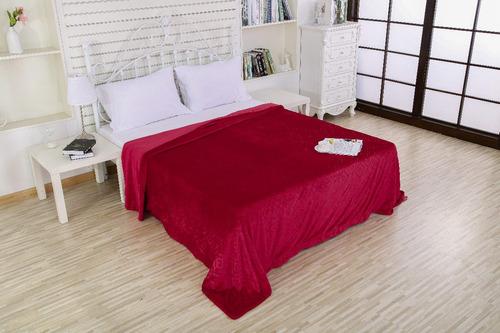 frazada flannel doble faz 230x240cm súper pesada-suave. rojo