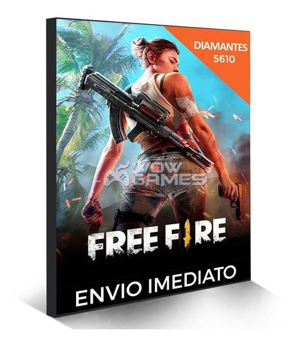 free fire 5100  diamantes + 510 bônus (5610) recarga p/ cont