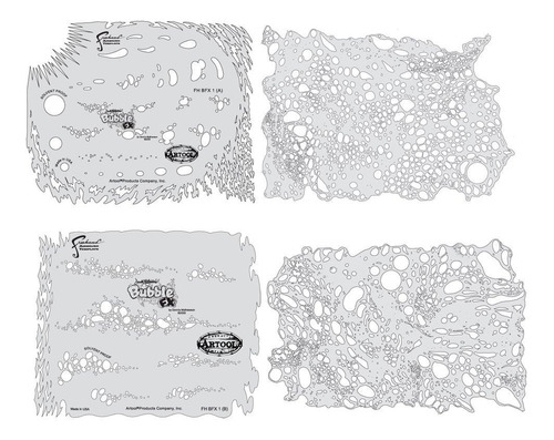 freehand airbrush templates, bubble template set