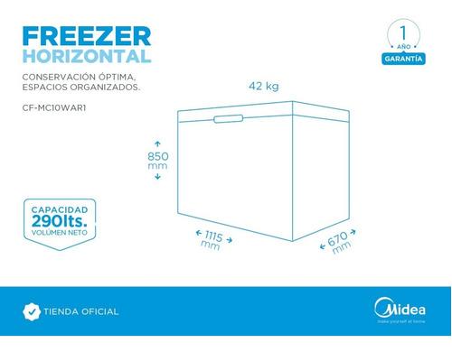 freezer horizontal midea 290 lts blanco
