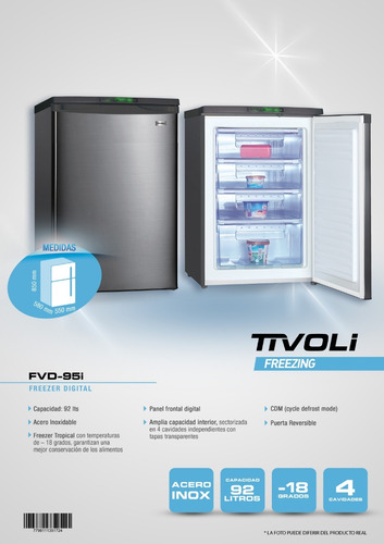 freezer vertical 95 lts tivoli fvd-95i digital 4 estrellas