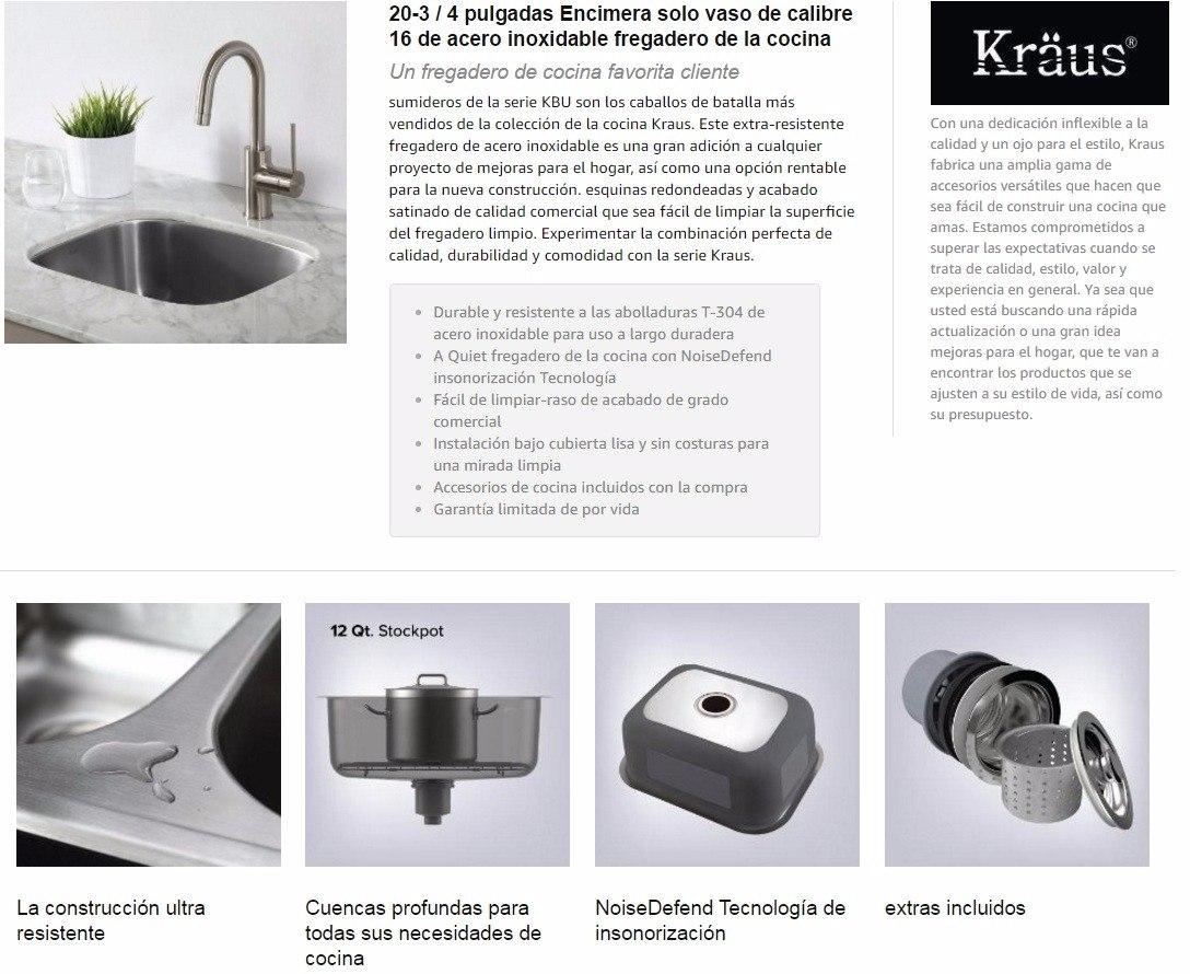 Fregadero Bajo Tope Kraus 50 Cm Made In Usa Acero De 1ra - Bs. 1.110 ...