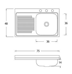 Fregadero barato tarja cocina acero inox cacm 401 eb for Dimensiones fregadero