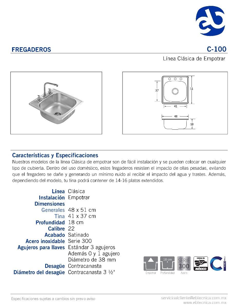 Fregadero eb tecnica de empotrar 48 x 51 cm 1c mod c 100 - Dimensiones fregadero ...