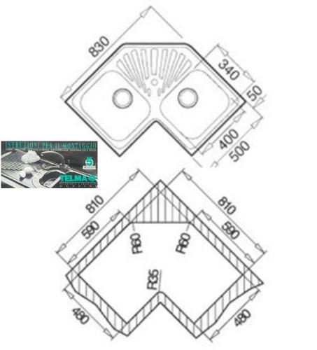 fregadero esquinero angular marca telma guzzini teka