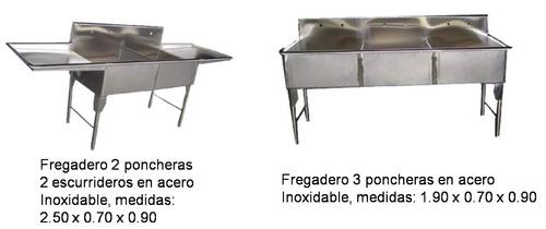 fregadero, lavaplatos, industrial en acero 100% inoxidable
