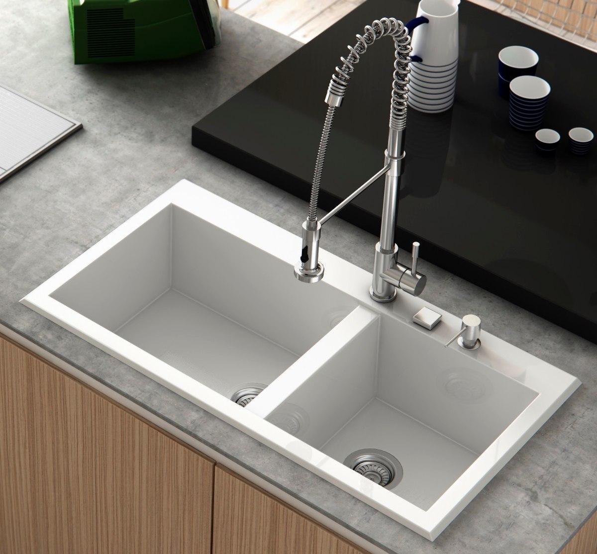 Fregadero lavaplatos mineral antibacterial poalgi blanco - Griferia cocina blanco ...