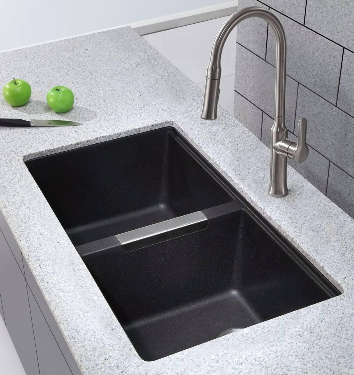 fregadero negro doble tina tarja cocina moderno de granito