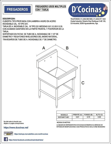 fregadero usos múltiples c/1 tarja acero inox. sobre pedido