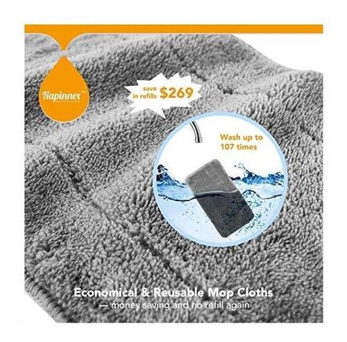 fregona de piso de polvo de microfibra hapinnex - 4 trapos /