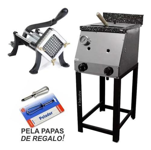 freidora 18 lts a gas tecnocalor + cortapapa mika + pelapapa