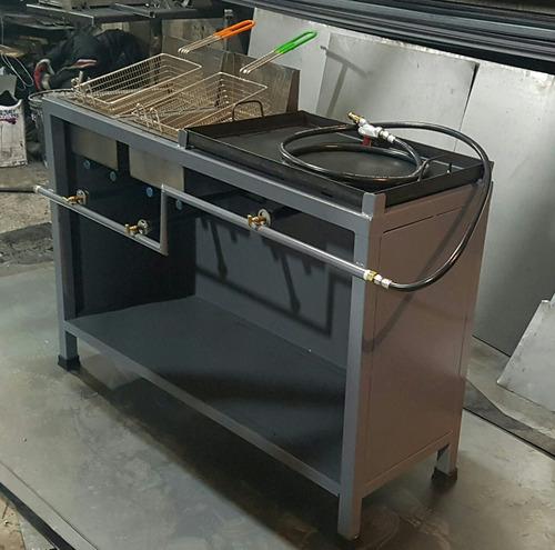 freidora de 2 tinas con plancha 60×40