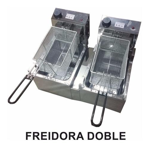 freidora electrica doble bacha 16 lts roa acero inoxidable