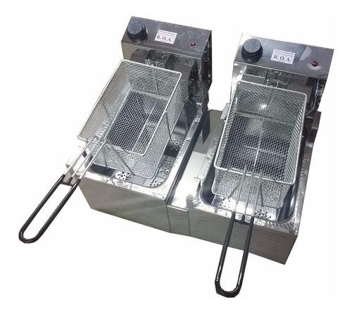 freidora electrica doble canasto 16 lts roa acero inoxidable