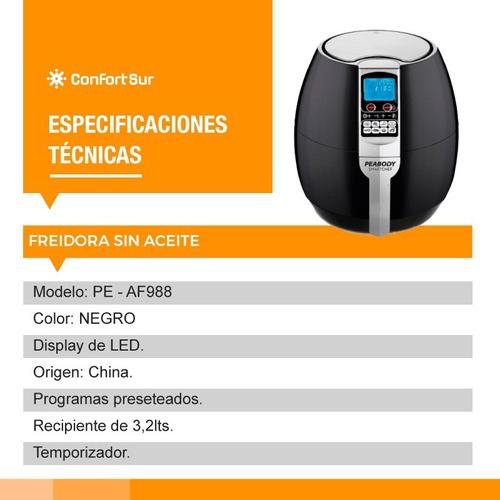 freidora electrica sin aceite af988 3.2l peabody **9