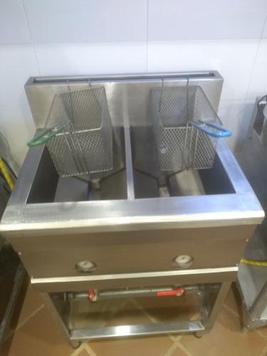 freidora / fritadora a gas industrial de dos camas