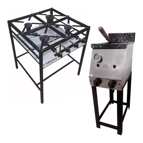 freidora industrial 10 lts + anafe 4 hornallas gastronomico