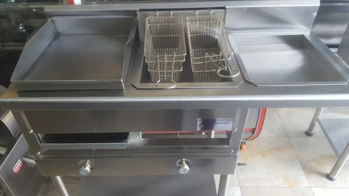 freidora industrial con plancha 2 canastas