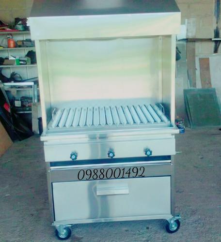 freidora + plancha + cocina industrial acero inoxidable