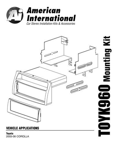 frente autoestéreo toyk960 toyota corolla 2003-2008 1 din