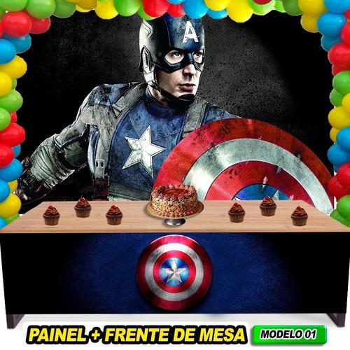 frente de mesa capitão américa+painel de festa+frete 3x1.5mt
