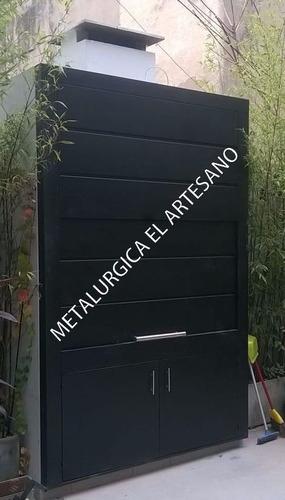 frente de parrilla c/ puerta guillotina apliques inoxidable