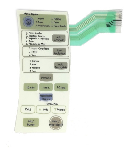 frente teclado lg membrana microondas mb-4344b ms-2344b 3609