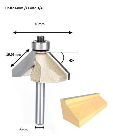 fresa chanfro 45 graus c/ dois cortadores 6mm x 3/4 ( widea)