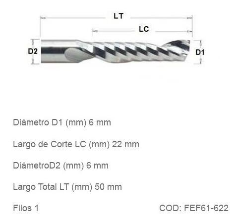 fresa espiralada facetada cnc 6mm 1 filo