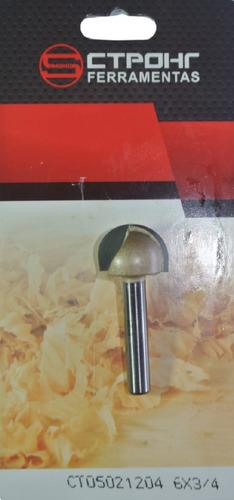 fresa meia esfera / ponta u / meia cana haste 6mm corte 3/4