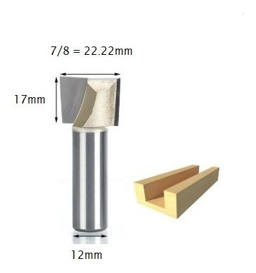 fresa paralela cortante / fundo plano / aplainar 12mm x 7/8