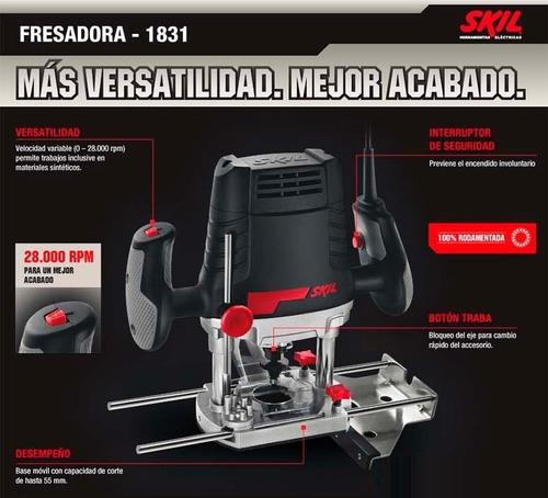 fresadora router skil rebajadora tupi + kit maletin 13 acces
