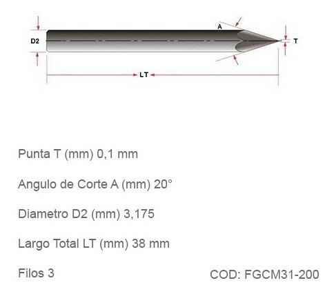 fresas cnc grabado conicas  no ferrosas 0,1mm. 20°