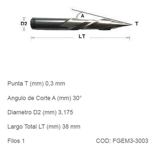 fresas cnc grabado espiralada metales punta 0,3mm angulo 30°