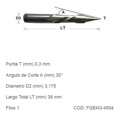 fresas cnc grabado espiralada metales punta 0,4mm angulo 45°