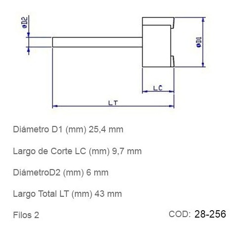 fresas cnc para rectificar superficies planas 25,4mm