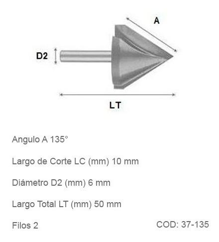 fresas cónicas grabado cnc 135º diametro 10mm 2 filos