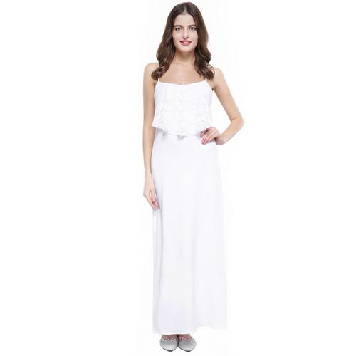 fresco vestido blanco de verano elegante y casual talla m/l