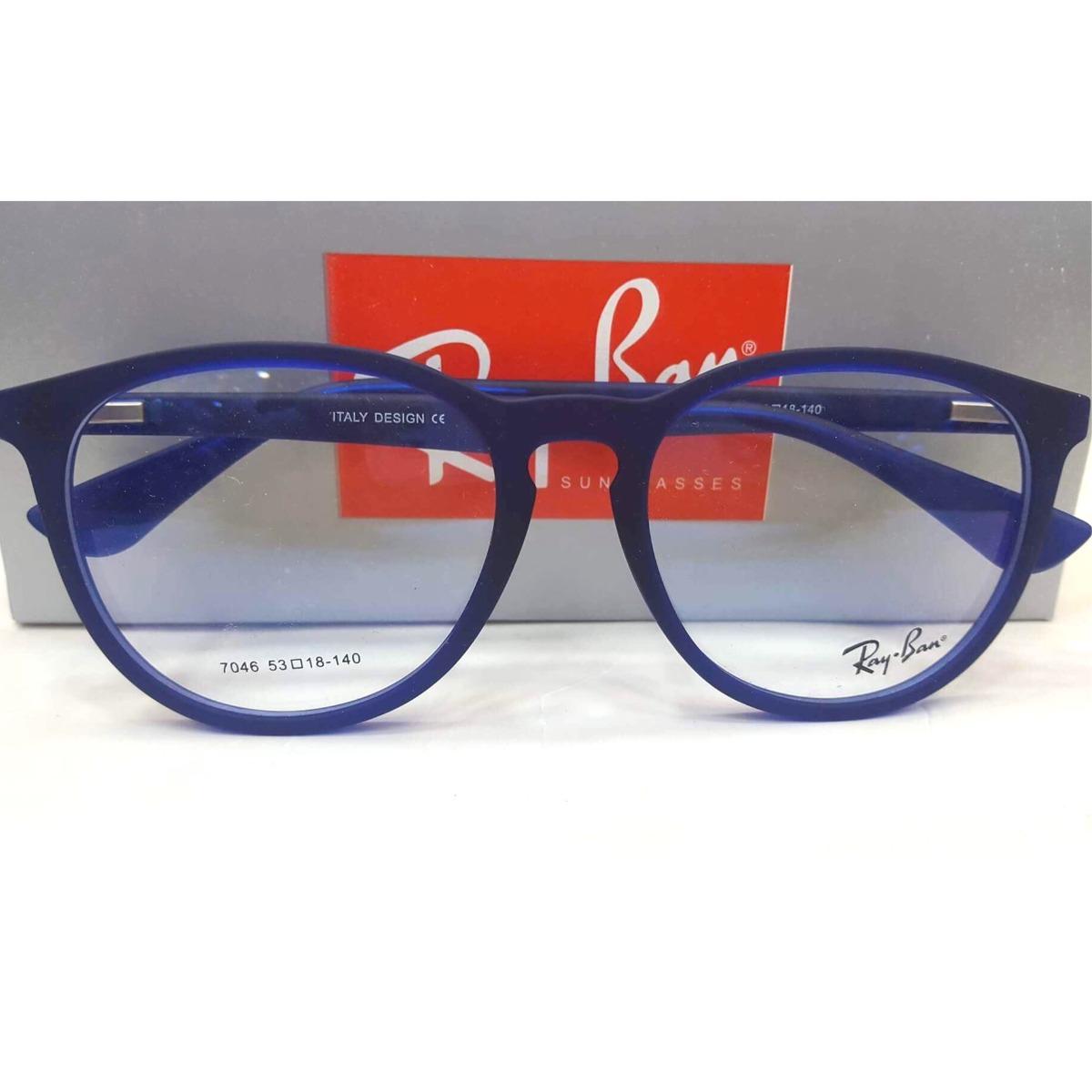 59c0361de7caa frete grátis armação óculos redondo emborrachado azul. Carregando zoom.