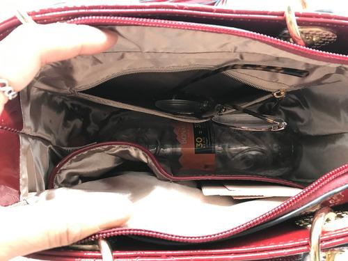 frete gratis bolsa feminina invernizada quadradinha