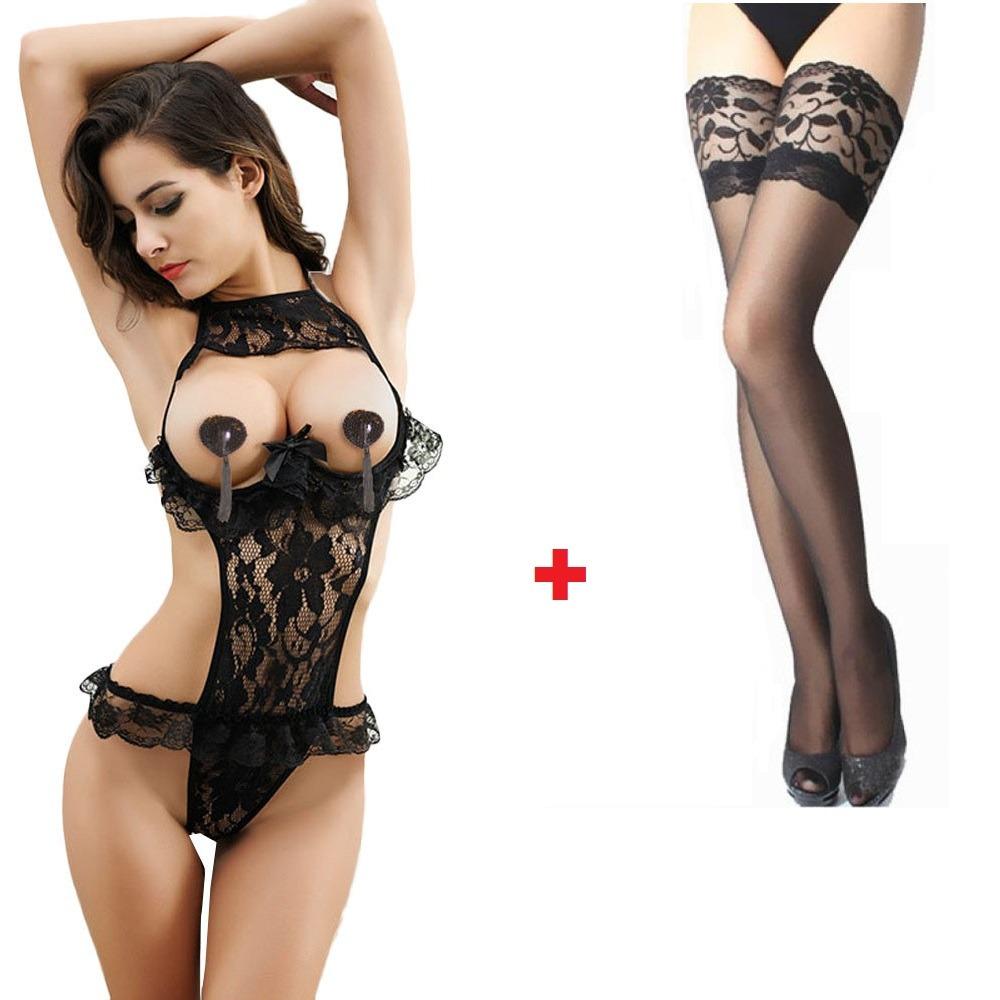Frete Grátis Lingerie Sexy + Meia 7 8 Renda Sensual Promoção - R ... ba19e71bd96