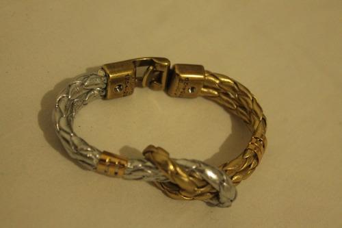 frete gratis. pulseira em couro trançado dourado e prateado.